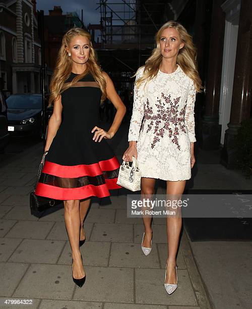 Nicky Hilton Paris Hilton seen at Claridge's Hotel on July 8 2015 in London England