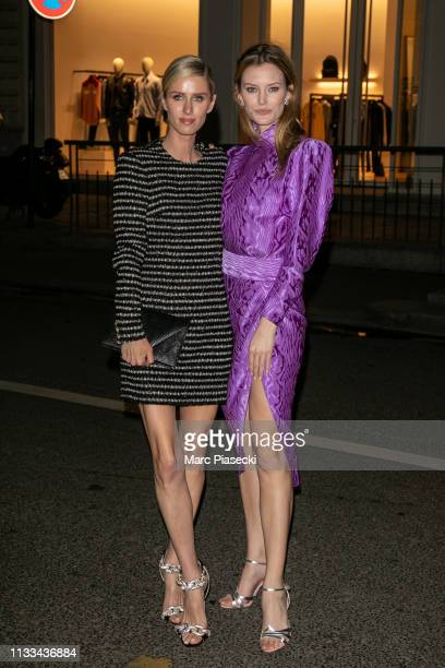 Nicky Hilton Rothschild and Charlott Cordes attend the Americans In Paris Cocktail Party Outside Arrivals as part of the Paris Fashion Week...
