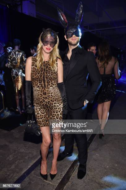 Nicky Hilton Rothschild and Derek Blasberg attend the 2017 amfAR The Naked Heart Foundation Fabulous Fund Fair at Skylight Clarkson Sq on October 28...