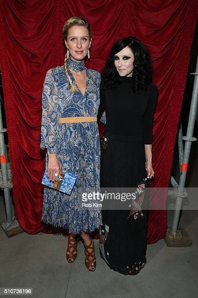 Nicky Hilton Rothschild and designer Stacey Bendet attend the alice olivia by Stacey Bendet Fall 2016 presentation at The Gallery Skylight at...