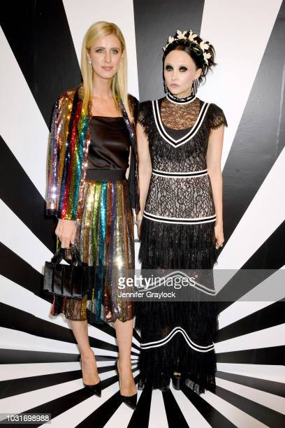 Nicky Hilton Rothschild and Stacey Bendet attend the alice + olivia SS19 Presentation Powered By Booking.com at Pier 59 Studios on September 11, 2018...