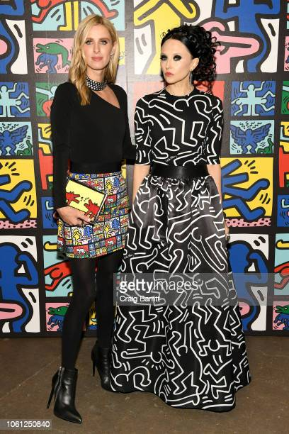 Nicky Hilton Rothschild and Stacey Bendet attend the Launch Of Keith Haring x alice olivia at Highline Stages on November 13 2018 in New York City