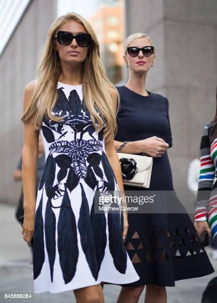 Nicky Hilton Rothschild Paris Hilton are seen attending Oscar de la Renta during New York Fashion Week wearing Oscar de la Renta on September 11 2017...