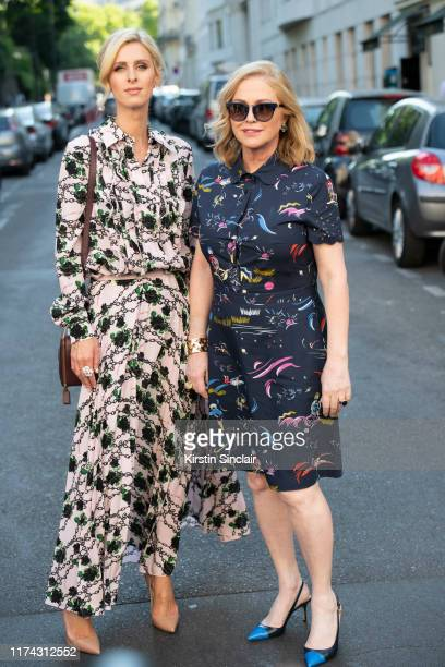 Nicky Hilton Rothschild wearing Valentino with her mother Kathy Hilton on July 03 2019 in Paris France