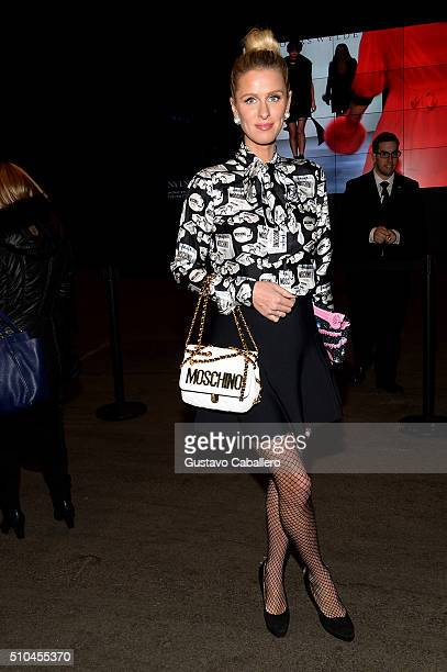 Nicky Hilton seen leaving Jeremy Scott fall 2016 fashion show on Day 5 of New York Fashion Week The Shows at Skylight at Moynihan Station on February...