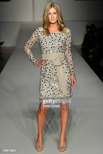 Nicky Hilton showcases a design on the catwalk during the Charlie Brown show as part of Rosemount Sydney Fashion Festival 2010, at Sydney Town Hall...