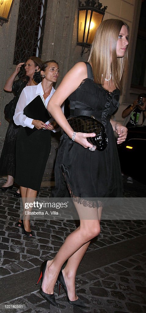 Nicky Hilton sighted leaving the Hassler Hotel ahead of the wedding of Petra Ecclestone and James Stunt on August 26, 2011 in Rome, Italy.