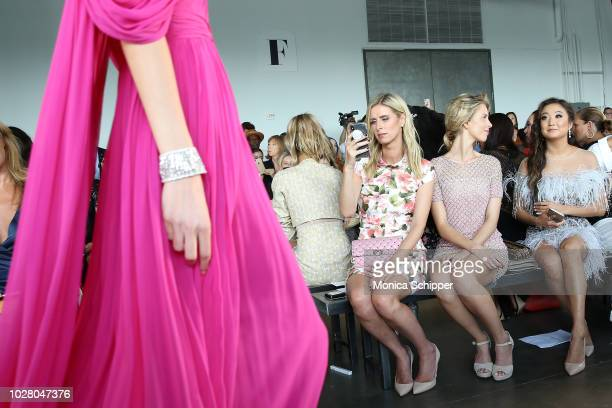 Nicky Hilton Tessa Hilton and Ashley Park attend the Pamella Roland fashion show during New York Fashion Week at Pier 59 on September 6 2018 in New...