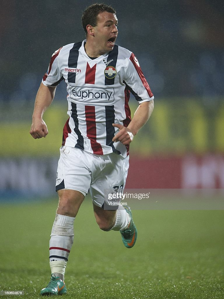 Nicky Hofs of Willem II during the Dutch Eredivisie match between Willem II and Feyenoord at the Koning Willem II Stadium on february 3, 2013 in Tilburg, The Netherlands