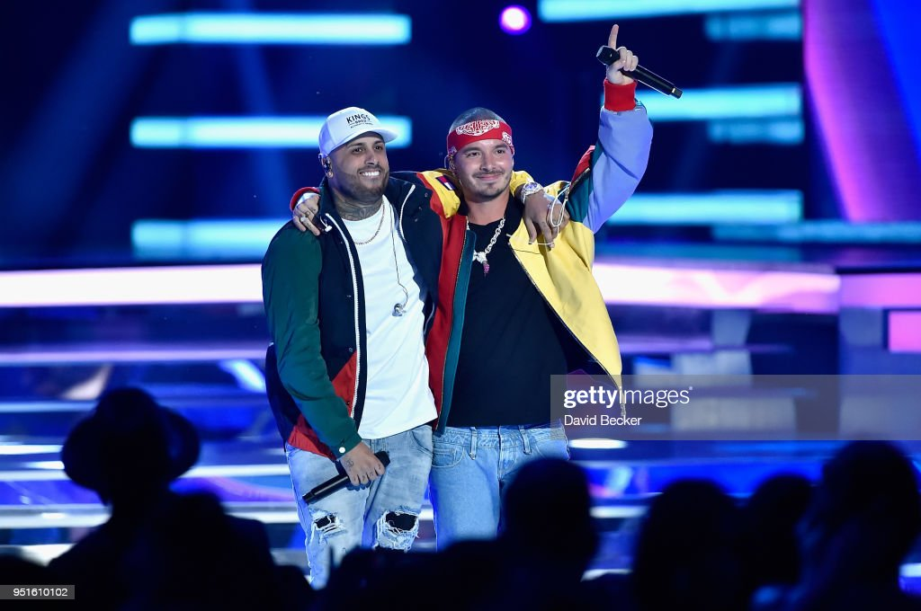 Nicky Jam (L) and J Balvin perform onstage at the 2018 Billboard Latin Music Awards at the Mandalay Bay Events Center on April 26, 2018 in Las Vegas, Nevada.