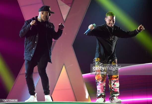 Nicky Jam and J Balvin perform onstage during rehearsals for the 19th annual Latin GRAMMY Awards at MGM Grand Hotel Casino on November 13 2018 in Las...