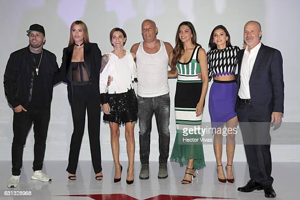 Nicky Jam Ariadna Gutierrez Ruby Rose Vin Diesel Deepika Padukone Nina Dobrev and D J Caruso pose during xXx Return of Xander Cage Mexico Photocall...