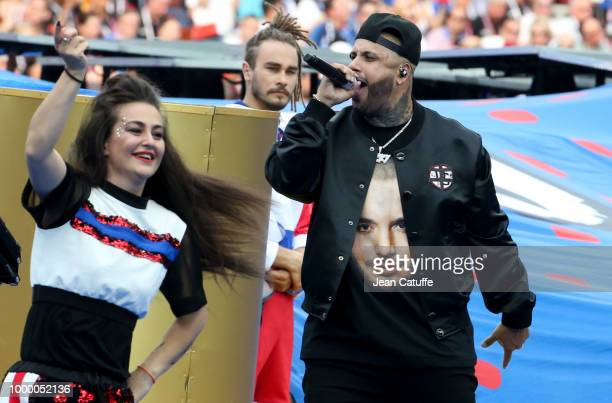 Nicky Jam performs during the 2018 FIFA World Cup Russia Final match between France and Croatia at Luzhniki Stadium on July 15 2018 in Moscow Russia