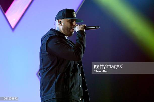 Nicky Jam performs onstage during rehearsals for the 19th annual Latin GRAMMY Awards at MGM Grand Hotel Casino on November 13 2018 in Las Vegas Nevada