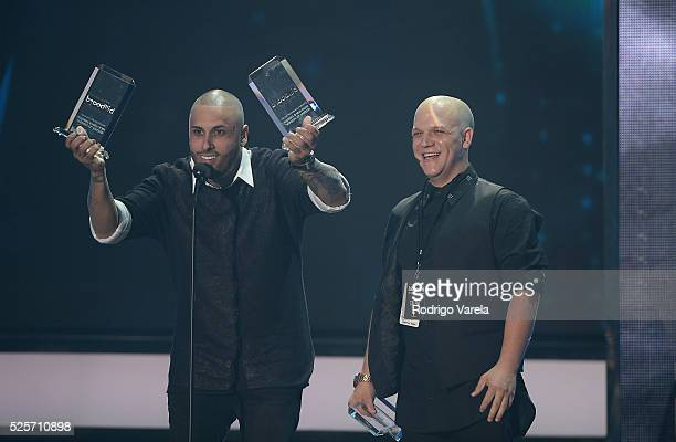 Nicky Jam receive awards at the Billboard Latin Music Awards at Bank United Center on April 28 2016 in Miami Florida