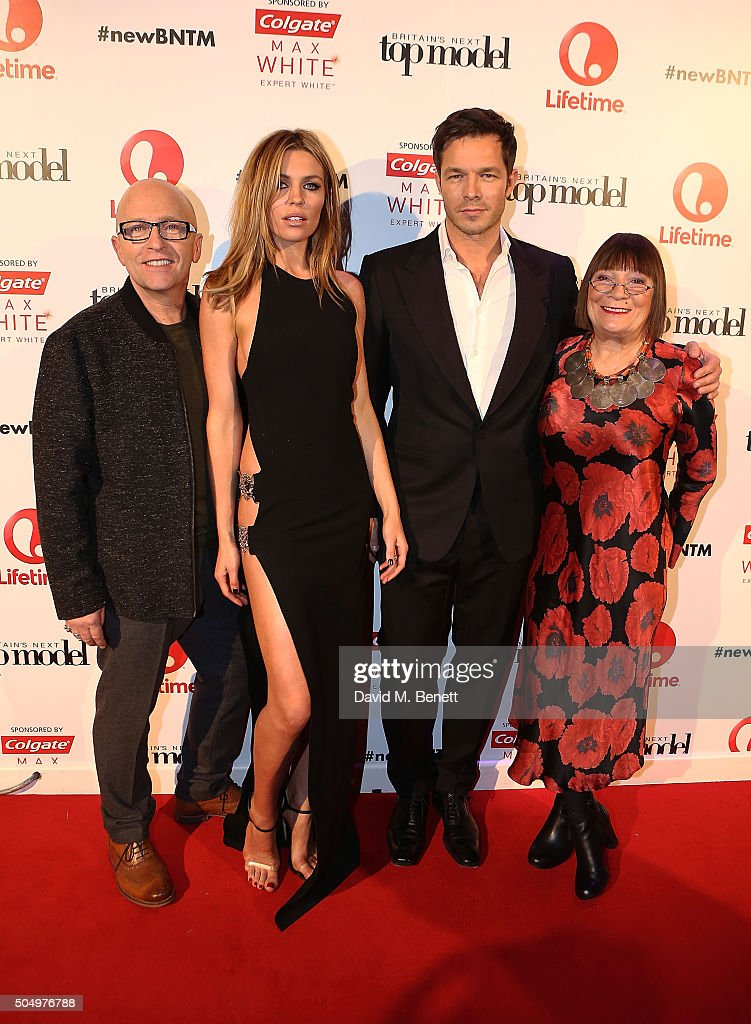 Nicky Johnston, Abbey Clancy, Paul Sculfor and Hilary Alexander attend Lifetime's launch of Britain's Next Top Model airing tonight at 9pm on Lifetime at Kensington Roof Gardens on January 14, 2016 in London, England.