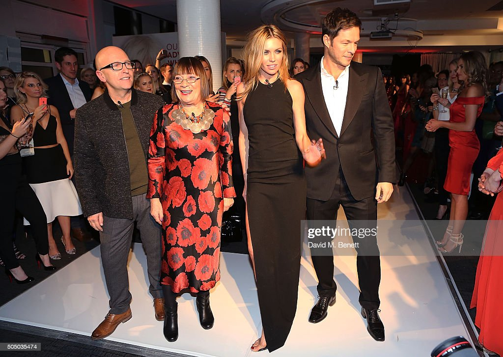 Nicky Johnston, Hilary Alexander, Abbey Clancy and Paul Sculfor attend Lifetime's launch of Britain's Next Top Model airing tonight at 9pm on Lifetime at Kensington Roof Gardens on January 14, 2016 in London, England.