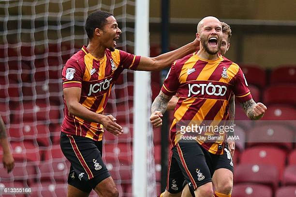Nicky Law of Bradford City celebrates after scoring a goal to make it 10 during the Sky Bet League One match between Bradford City and Shrewsbury...
