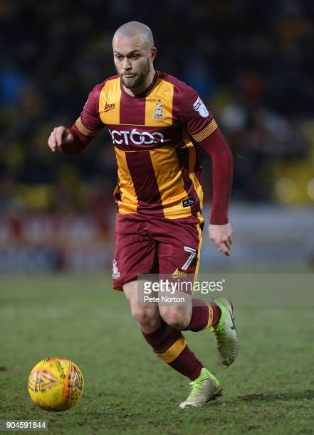 Nicky Law of Bradofrd City in action during the Sky Bet League One match between Bradford City and Northampton Town at Northern Commercials Stadium...