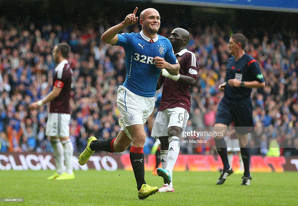 Nicky Law of Rangers celebrates after scoring during the Scottish Championship Opening League Match between Rangers and Hearts, at Ibrox Stadium on August 10, 2014 Glasgow, Scotland.