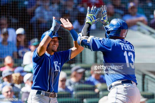 Nicky Lopez and Salvador Perez of the Kansas City Royals react after a two run home run by Perez during the fifth inning against the Seattle Mariners...