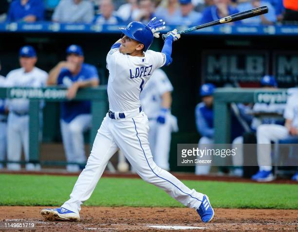 Nicky Lopez of the Kansas City Royals in the second inning during the game against the Texas Rangers at Kauffman Stadium on May 15 2019 in Kansas...