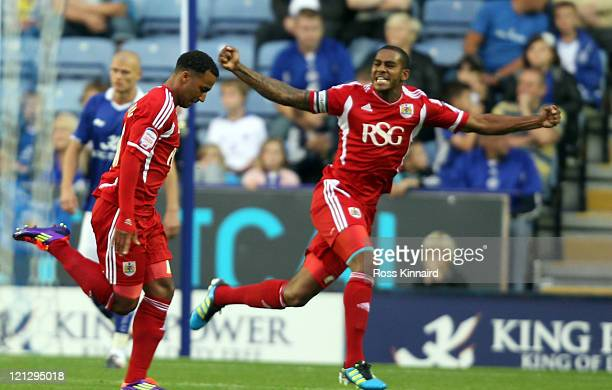 Nicky Maynard of Bristol celebrates after scoring the opening goal during the npower Championship match between Leicester City and Bristol City at...