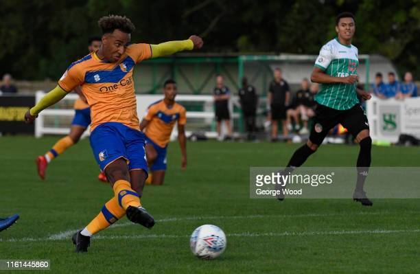 Nicky Maynard of Mansfield Town scores his teams fourth goal of the match during the PreSeason Friendly between Bradford and Mansfield Town at...