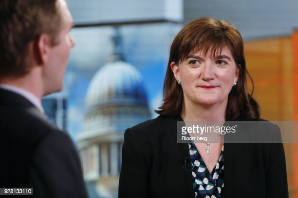 Nicky Morgan UK treasury committee chair and Conservative Party lawmaker speaks during a Bloomberg Television interview in London UK on Tuesday March...