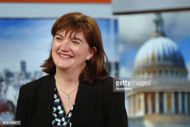 Nicky Morgan UK treasury committee chair and Conservative Party lawmaker reacts during a Bloomberg Television interview in London UK on Tuesday March...