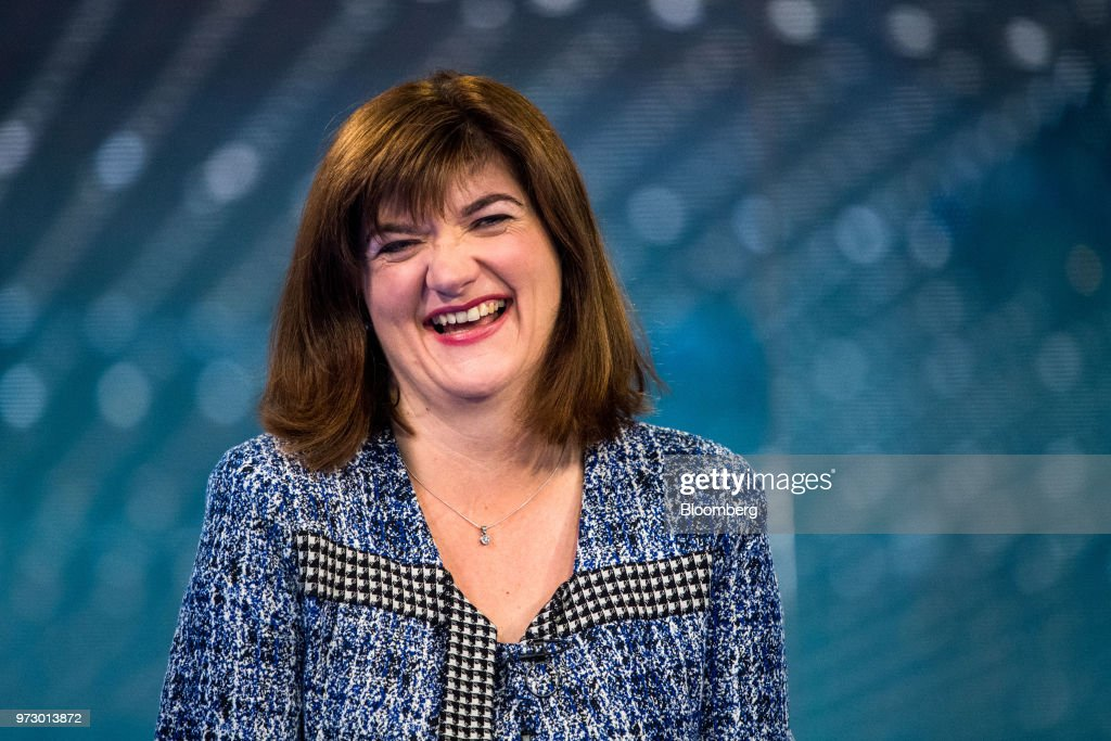Nicky Morgan, U.K. treasury committee chair and Conservative Party lawmaker, reacts during a Bloomberg Television interview in London, U.K., on Tuesday, March 6, 2018. U.K.lawmakersare calling for an overhaul of the way bankers' bonuses are awarded to help women gain greater representation within the industry. Photographer: Chris J. Ratcliffe/Bloomberg via Getty Images