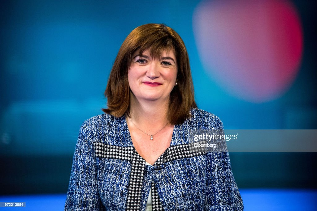 Nicky Morgan, U.K. treasury committee chair and Conservative Party lawmaker, pauses during a Bloomberg Television interview in London, U.K., on Tuesday, March 6, 2018. U.K.lawmakersare calling for an overhaul of the way bankers' bonuses are awarded to help women gain greater representation within the industry. Photographer: Chris J. Ratcliffe/Bloomberg via Getty Images