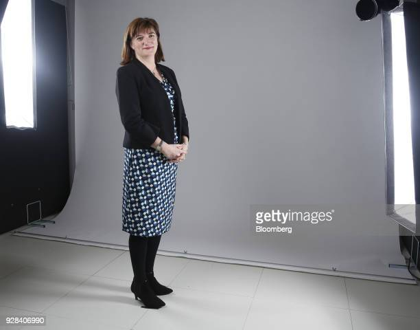 Nicky Morgan UK treasury committee chair and Conservative Party lawmaker poses for a photograph following a Bloomberg Television interview in London...