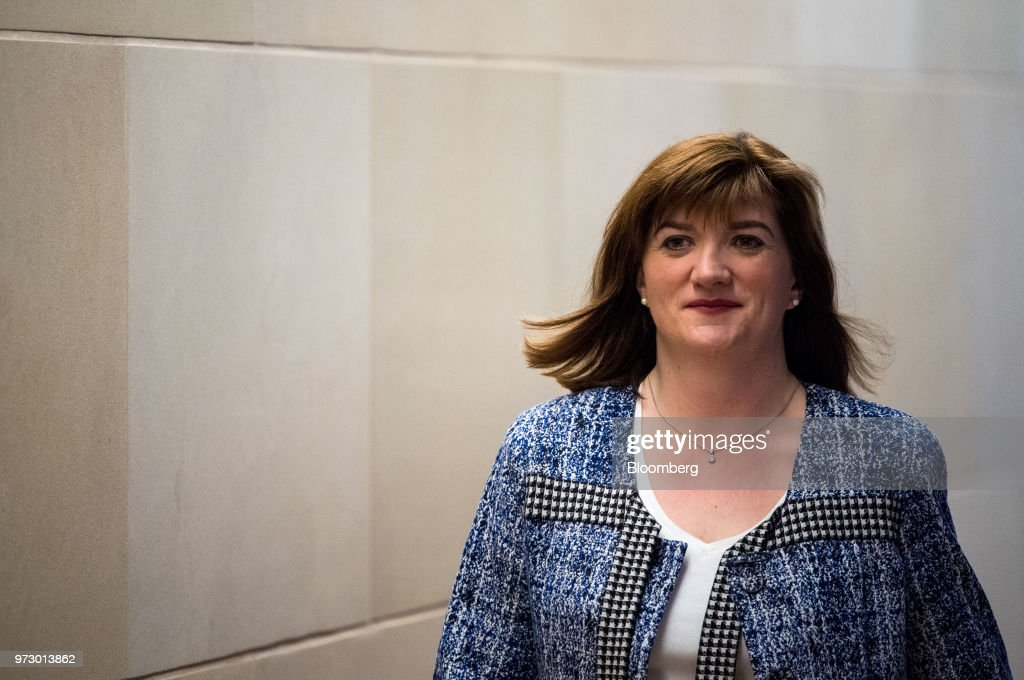 Nicky Morgan, U.K. treasury committee chair and Conservative Party lawmaker, arrives for a Bloomberg Television interview in London, U.K., on Tuesday, March 6, 2018. U.K.lawmakersare calling for an overhaul of the way bankers' bonuses are awarded to help women gain greater representation within the industry. Photographer: Chris J. Ratcliffe/Bloomberg via Getty Images