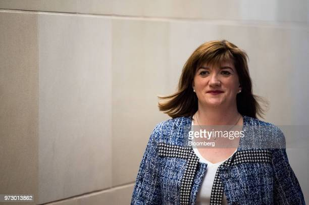Nicky Morgan UK treasury committee chair and Conservative Party lawmaker arrives for a Bloomberg Television interview in London UK on Tuesday March 6...