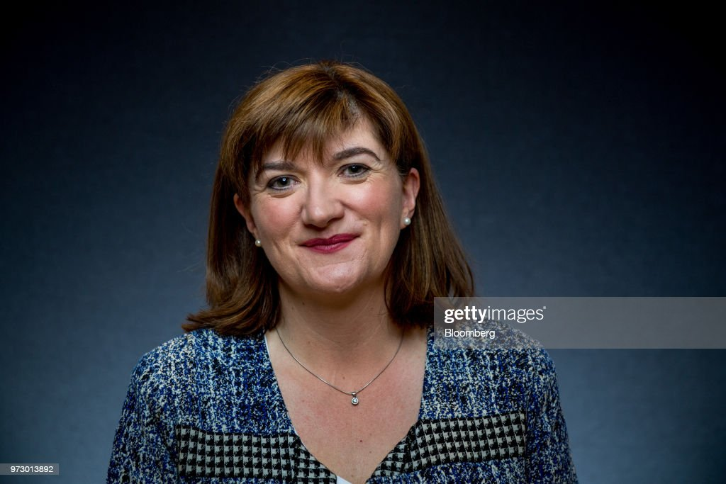 Nicky Morgan, U.K. treasury committee chair and Conservative Party lawmaker, poses for a photograph following a Bloomberg Television interview in London, U.K., on Tuesday, March 6, 2018. U.K.lawmakersare calling for an overhaul of the way bankers' bonuses are awarded to help women gain greater representation within the industry. Photographer: Chris J. Ratcliffe/Bloomberg via Getty Images