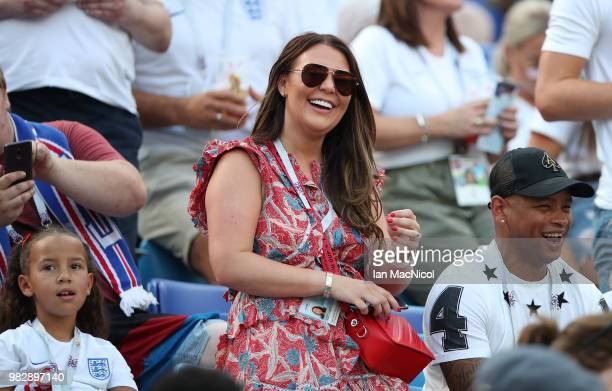 Nicky Pike the partner of Ashley Young is seen during the 2018 FIFA World Cup Russia group G match between England and Panama at Nizhniy Novgorod...