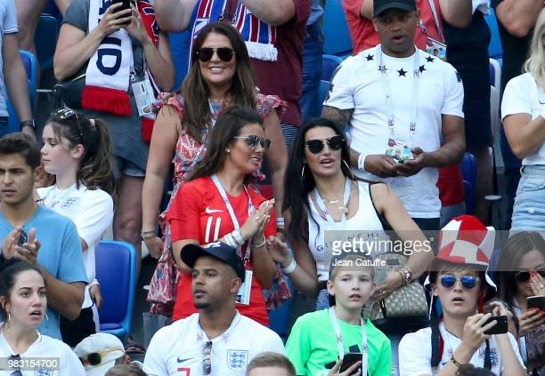 Nicky Pike, wife of Ashley Young of England, below her Rebekah Vardy, wife of Jamie Vardy, Annie Kilner, girlfriend of Kyle Walker attend the 2018...