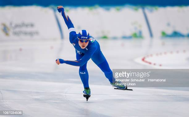 Nicky Rosanelli of Italy competes in the Mens 500m sprint race during the ISU Junior World Cup Speed Skating Final Day 2 on February 9 2019 in Trento...
