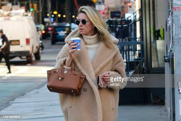 Nicky Rothschild looks stylish in a brown teddy bear coat while on a coffee run on March 8, 2021 in New York City, New York.