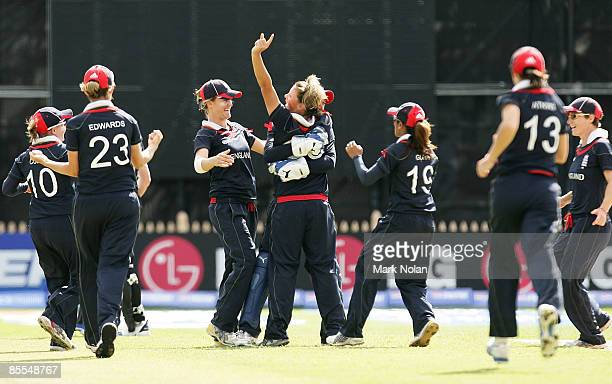 Nicky Shaw of England celebrates with team mates after dismissing Haidee Tiffen of New Zealand during the ICC Women's World Cup 2009 final match...
