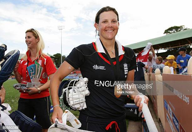 Nicky Shaw of England leaves the field of play after winning the ICC Women's World Cup 2009 final match between England and New Zealand at North...