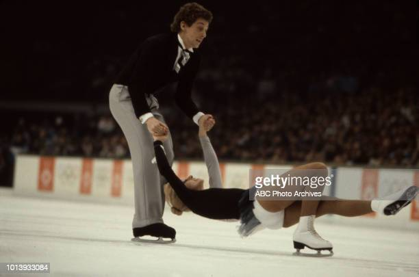 Nicky Slater Karen Barber competing in the Ice dancing event at the 1984 Winter Olympics / XIV Olympic Winter Games Zetra Ice Hall