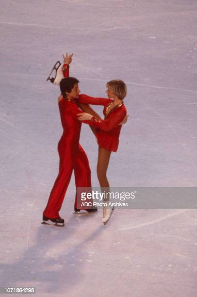 Nicky Slater Karen Barber competing in the Ice Dancing figure skating event at the 1980 Winter Olympics / XIII Olympic Winter Games Olympic Center...