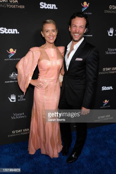 Nicky Whelan and Kyle Schmid attend G'Day USA 2020 at Beverly Wilshire, A Four Seasons Hotel on January 25, 2020 in Beverly Hills, California.