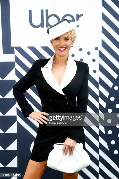 Nicky Whelan arrives at AAMI Victoria Derby Day at Flemington Racecourse on November 02, 2019 in Melbourne, Australia.