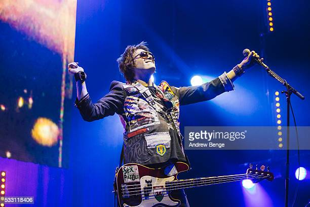 Nicky Wire of Manic Street Preachers performs on stage at First Direct Arena Leeds on May 20 2016 in Leeds England