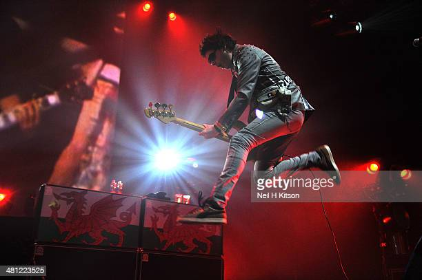 Nicky Wire of Manic Street Preachers performs on stage at Leeds O2 Academy on March 28 2014 in Leeds United Kingdom