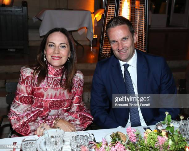 Nicky Zimmermann and Australian Ambassador to Paris Brendan Berne attend the Zimmermann Cocktail As part as Paris Fashion Week Womenswear Spring...