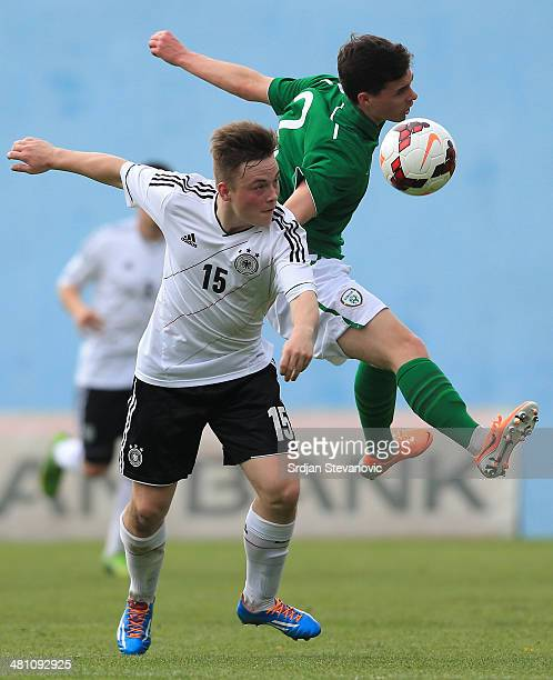 Niclas Bahn of Germany competes for the ball with Robin Walsh of Ireland during the UEFA Under17 Elite Round between Germany and Ireland at Stadion...